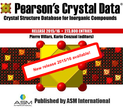 New Pearson's Crystal Database Release 2015/16 available